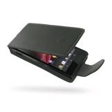 PDair Bolsa em couro ultra fina para Sony Xperia M (Abertura vertical, Preto)